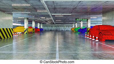 coches, en, el, estacionamiento