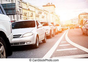 coches, en, un, cola, en, embotellamiento