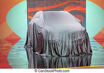 coches, en, un, sala de exposición