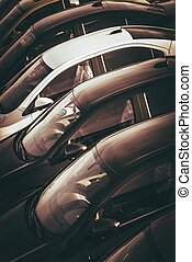 coches, en venta, comerciante, terreno