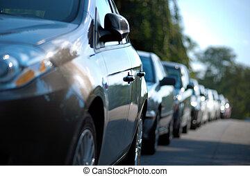 coches, estacionado, fila