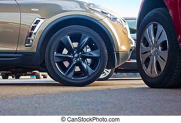 coches, exterior, estacionamiento