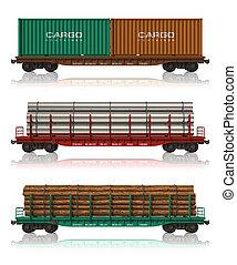 coches, ferrocarril, conjunto, carga