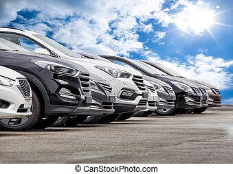 coches, fila, venta, terreno, acción