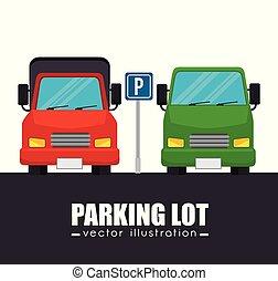 coches, gráfico, terreno, estacionamiento