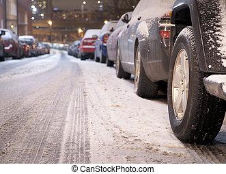 coches, invierno, estacionado