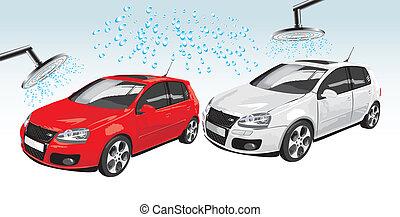 coches, lavado, automóvil