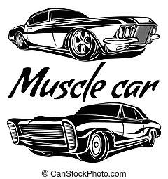 coches, músculo, conjunto, 70s