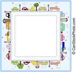 coches, marco, saludo, bebé, o, tarjeta