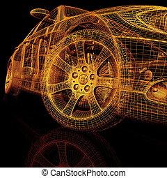 coches, modelo, 3d