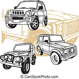 coches, off-road, vector, -, set.