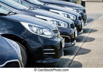 coches, para, sale., ventas coche, mercado, lugar