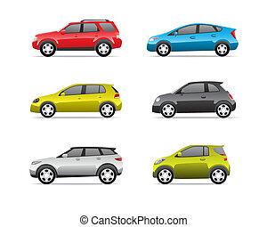 coches, parte, 2, conjunto, iconos
