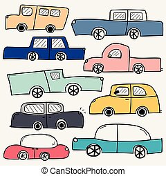 coches, set., colección, mano, vector, dibujado, transportation.