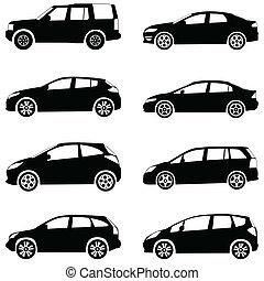 coches, silueta, conjunto