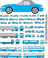 coches, siluetas, conjunto
