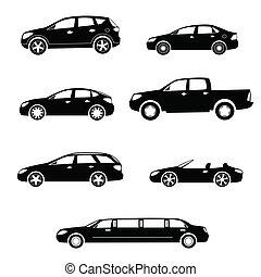 coches, siluetas, vector, colección
