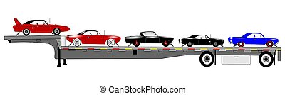 coches, transporte, músculo, remolque