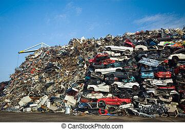 coches, utilizado, pila