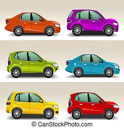 coches, vector, colorido