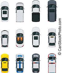 coches, vector, conjunto