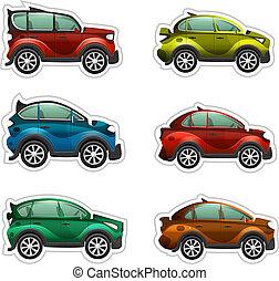 coches, vector, pegatinas, juguete