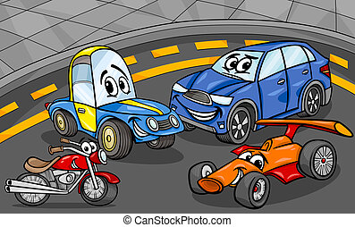 coches, vehículos, grupo, caricatura, ilustración