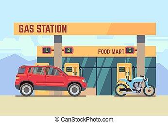 coches, y, motocicletas, en, gas, gasolinera, plano, vector, ilustración