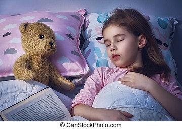 cochilando, menina, cama