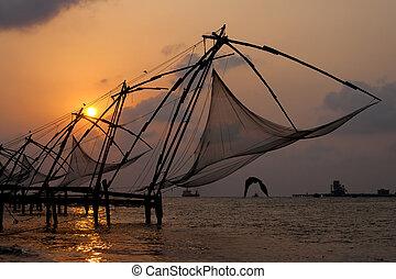 cochin, chino, encima, ocaso, redes de pesca