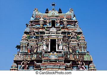 cochin, india, vishnu, kerala, estado, templo, gopuram