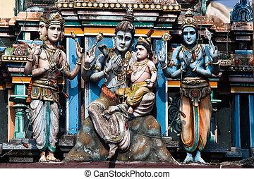 cochin, indien, vishnu, kerala, staat, tempel, gopuram