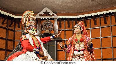 cochin, vertueux, ancien, mars, (green), classique, india., danse, 06:, kerala., -, centre, 06, interprète, rôle, formulaire, kathakali, 2011, pachcha, sud, fort