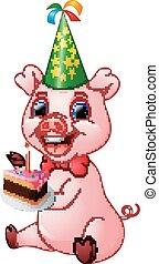 cochon, anniversaire, tenue, gâteau, dessin animé, heureux