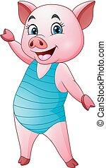 cochon bleu, dessin animé, maillot de bain