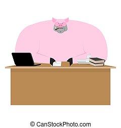 cochon, boss., porcelet, homme affaires, à, desk., ferme, bureau., vecteur, illustration