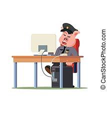 cochon, bureau, sommeil, shérif, police, vecteur