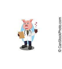 cochon, conception, illustration, vecteur, prof
