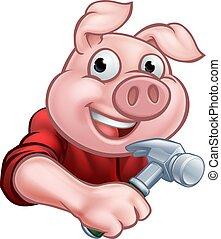 cochon, dessin animé, charpentier, caractère