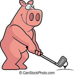 cochon, dessin animé, jouer golf
