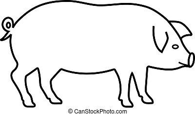 cochon, icône, contour