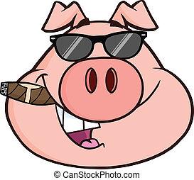 cochon, tête, homme affaires