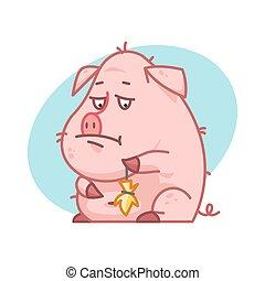 cochon, triste, désordre, caractère