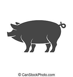 cochon, vecteur, icon.
