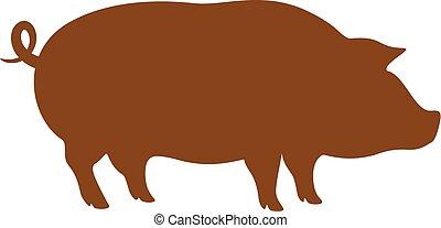 cochon, vecteur, silhouette, icône