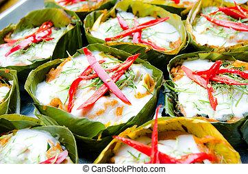coció al vapor pescado, alimento, mok, hor, tailandés, cu