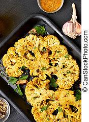 cocido al horno, coliflor, filetes