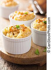 cocido al horno, macarrones, con, queso