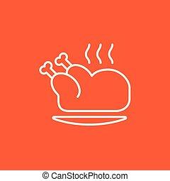 cocido al horno, pollo, entero, línea, icon.