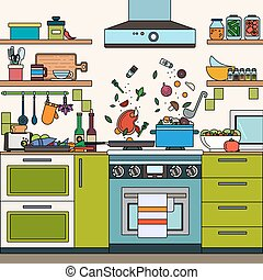 Hogar estufa caricatura cocina vector estufa for Muebles perdigon